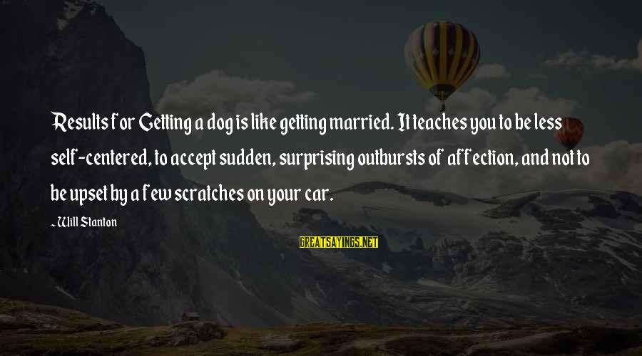 Car Scratches Sayings By Will Stanton: Results for Getting a dog is like getting married. It teaches you to be less