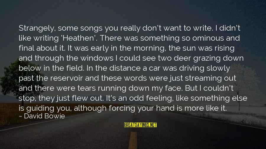 Car Write Off Sayings By David Bowie: Strangely, some songs you really don't want to write. I didn't like writing 'Heathen'. There