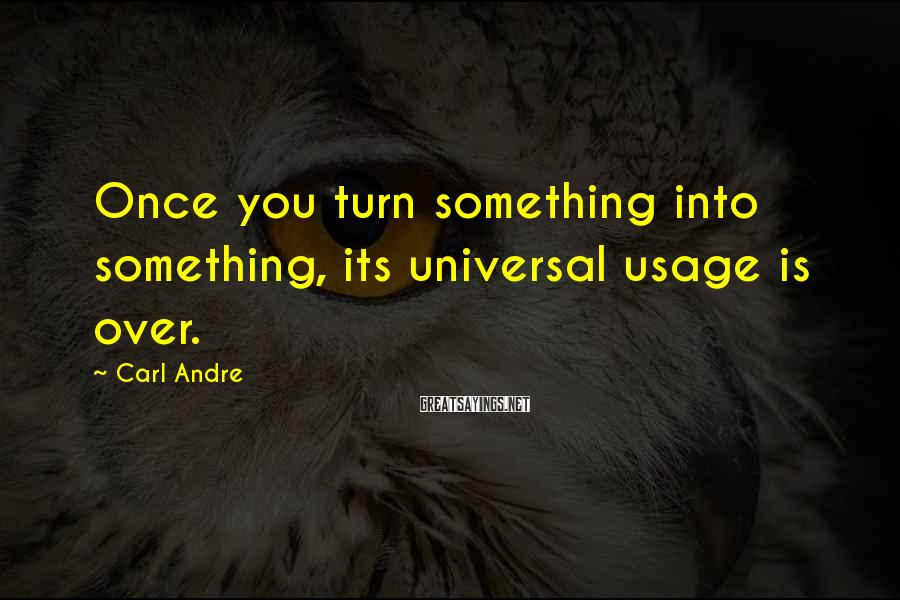Carl Andre Sayings: Once you turn something into something, its universal usage is over.