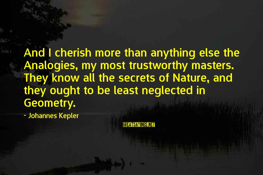 Carl Grissom Sayings By Johannes Kepler: And I cherish more than anything else the Analogies, my most trustworthy masters. They know