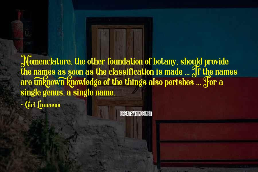 Carl Linnaeus Sayings: Nomenclature, the other foundation of botany, should provide the names as soon as the classification