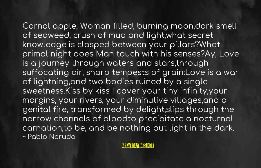 Carnation Sayings By Pablo Neruda: Carnal apple, Woman filled, burning moon,dark smell of seaweed, crush of mud and light,what secret