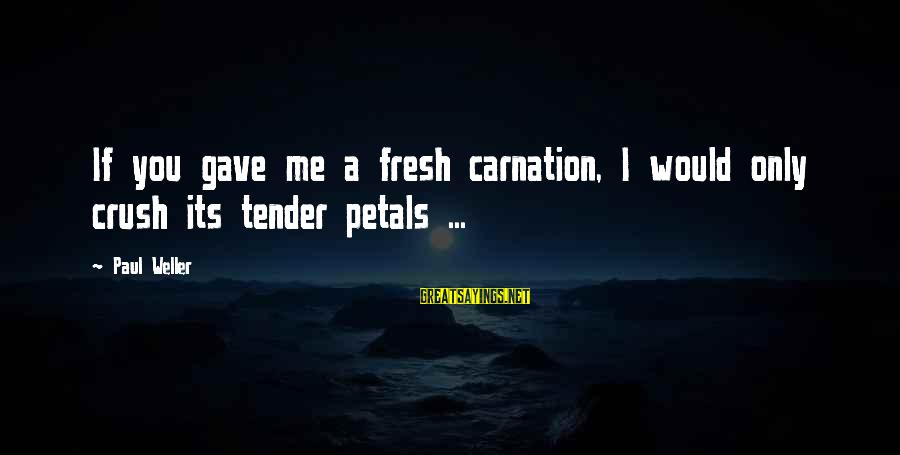 Carnation Sayings By Paul Weller: If you gave me a fresh carnation, I would only crush its tender petals ...