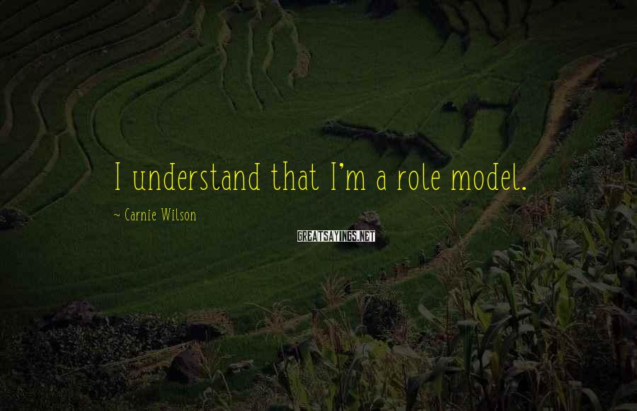Carnie Wilson Sayings: I understand that I'm a role model.