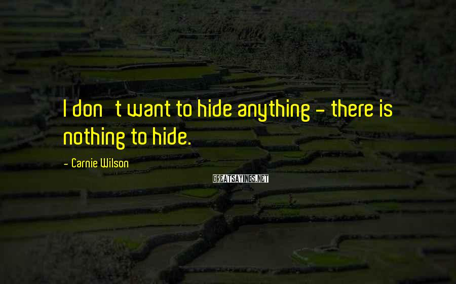 Carnie Wilson Sayings: I don't want to hide anything - there is nothing to hide.