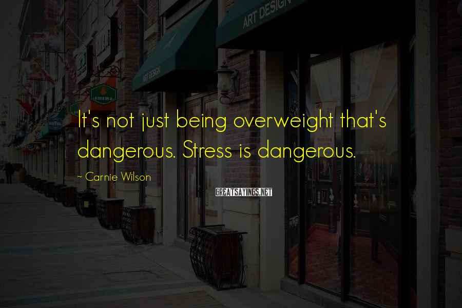 Carnie Wilson Sayings: It's not just being overweight that's dangerous. Stress is dangerous.