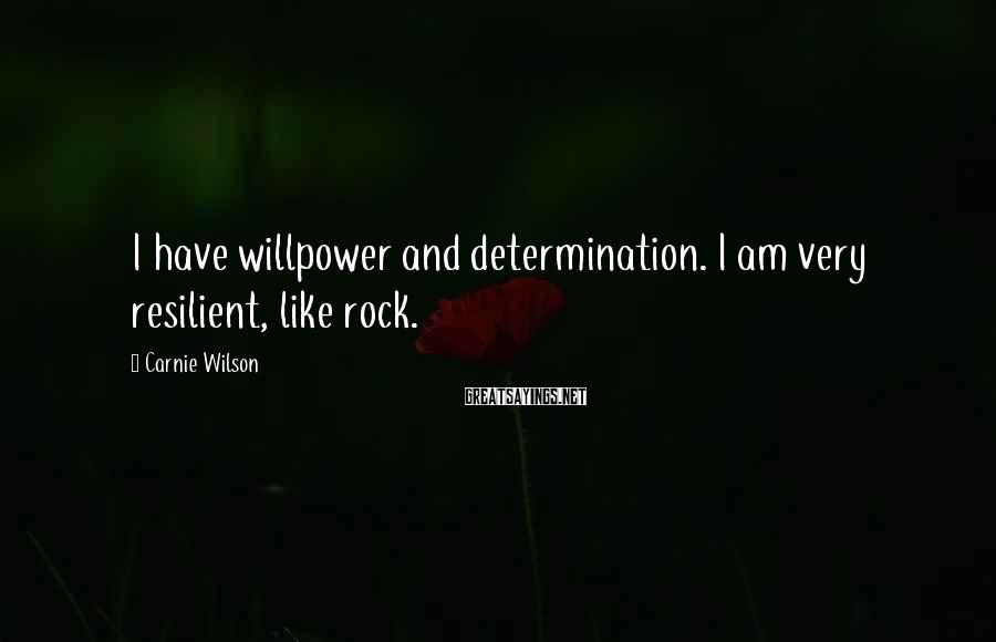 Carnie Wilson Sayings: I have willpower and determination. I am very resilient, like rock.