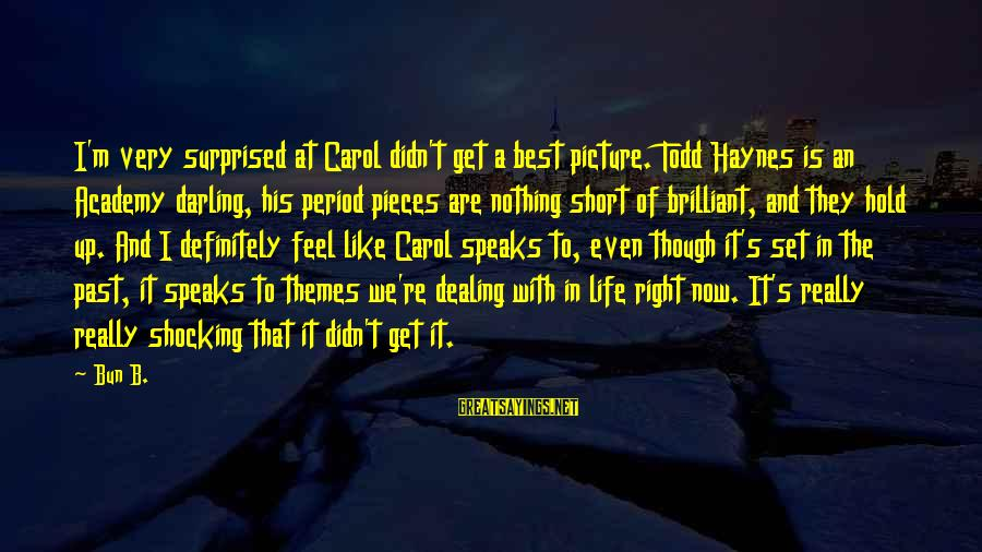 Carol Todd Haynes Sayings By Bun B.: I'm very surprised at Carol didn't get a best picture. Todd Haynes is an Academy