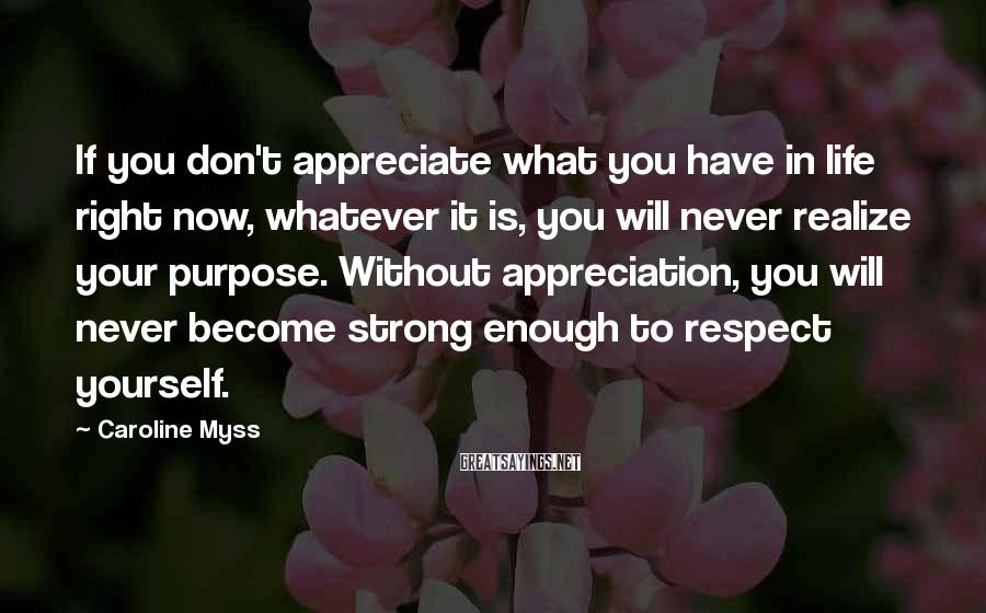 Caroline Myss Sayings: If you don't appreciate what you have in life right now, whatever it is, you