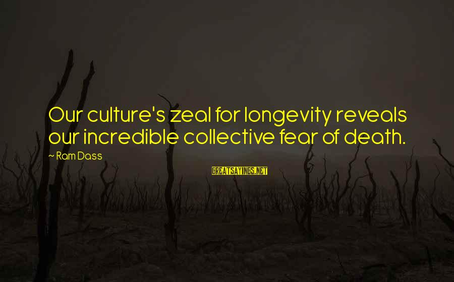 Catchy Cleaning Sayings By Ram Dass: Our culture's zeal for longevity reveals our incredible collective fear of death.