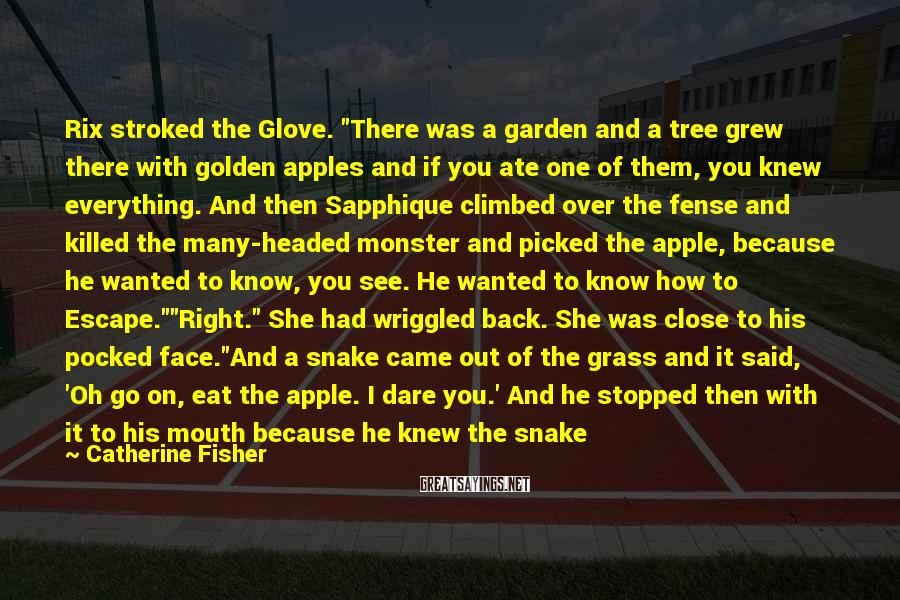 "Catherine Fisher Sayings: Rix stroked the Glove. ""There was a garden and a tree grew there with golden"
