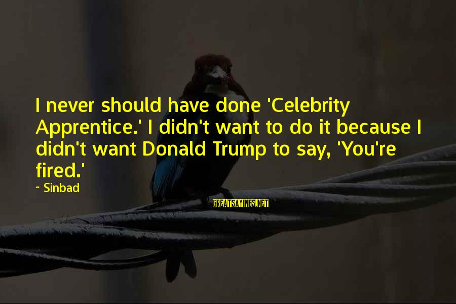 Celebrity Sayings By Sinbad: I never should have done 'Celebrity Apprentice.' I didn't want to do it because I