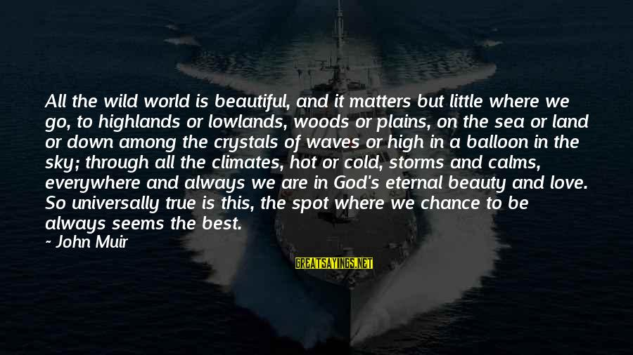 Chance And Love Sayings By John Muir: All the wild world is beautiful, and it matters but little where we go, to