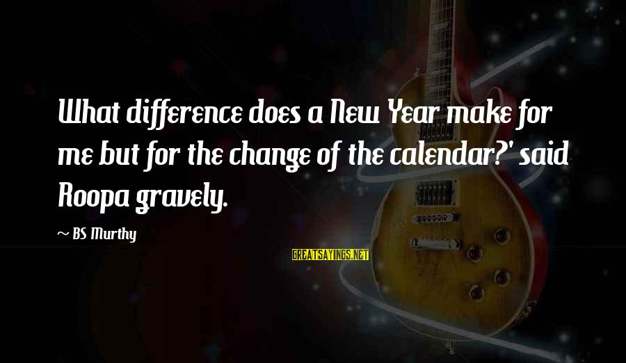 Change In The New Year Sayings By BS Murthy: What difference does a New Year make for me but for the change of the