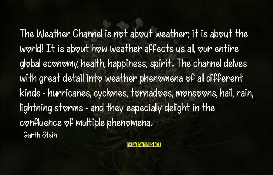Channel 4 Sayings By Garth Stein: The Weather Channel is not about weather; it is about the world! It is about