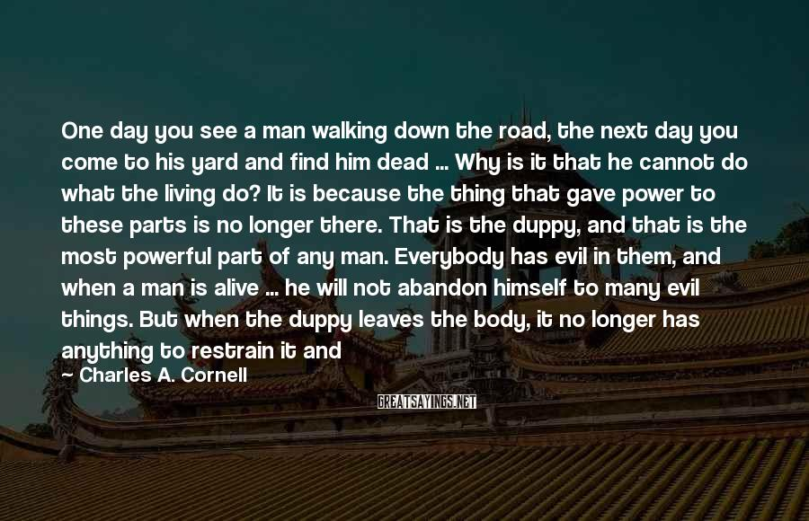 Charles A. Cornell Sayings: One day you see a man walking down the road, the next day you come