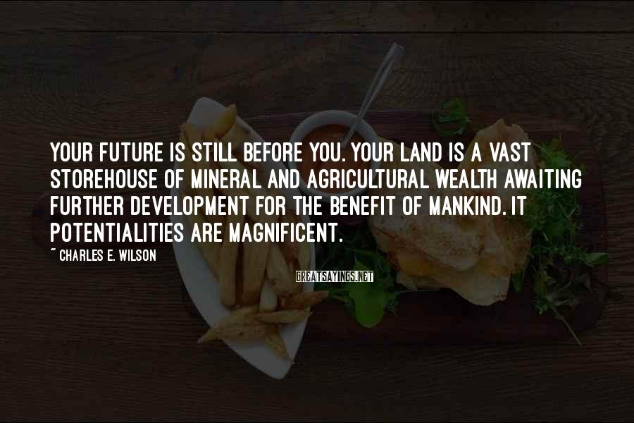 Charles E. Wilson Sayings: Your future is still before you. Your land is a vast storehouse of mineral and