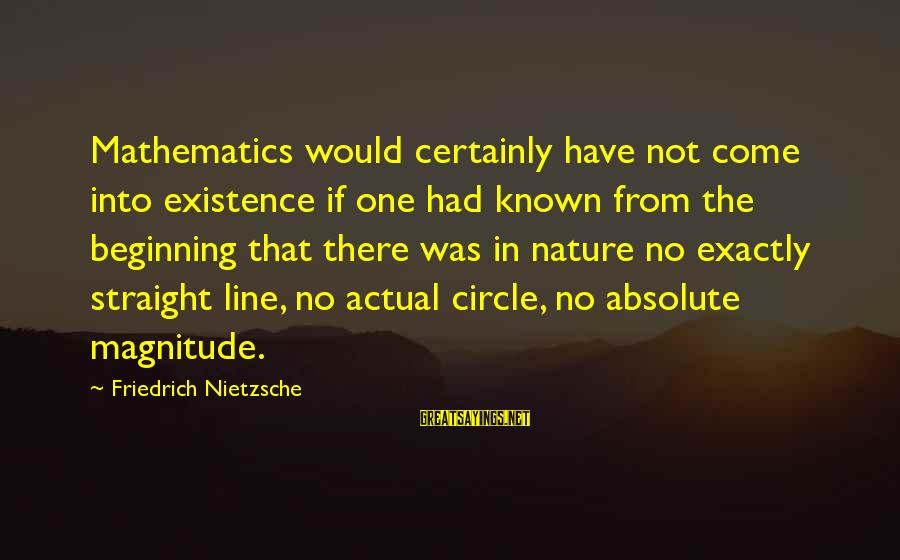 Chasing The Wrong Things Sayings By Friedrich Nietzsche: Mathematics would certainly have not come into existence if one had known from the beginning