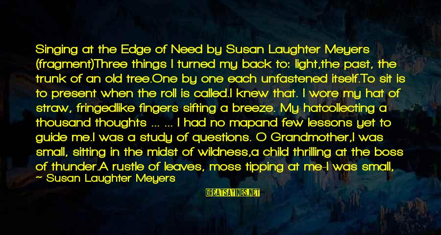 Child's Laughter Sayings By Susan Laughter Meyers: Singing at the Edge of Need by Susan Laughter Meyers (fragment)Three things I turned my