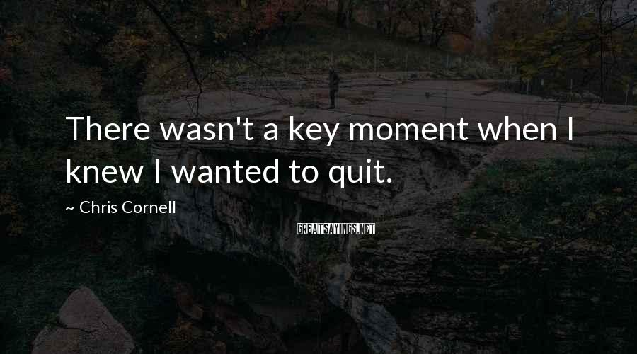 Chris Cornell Sayings: There wasn't a key moment when I knew I wanted to quit.