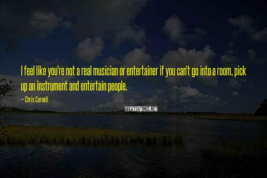 Chris Cornell Sayings: I feel like you're not a real musician or entertainer if you can't go into