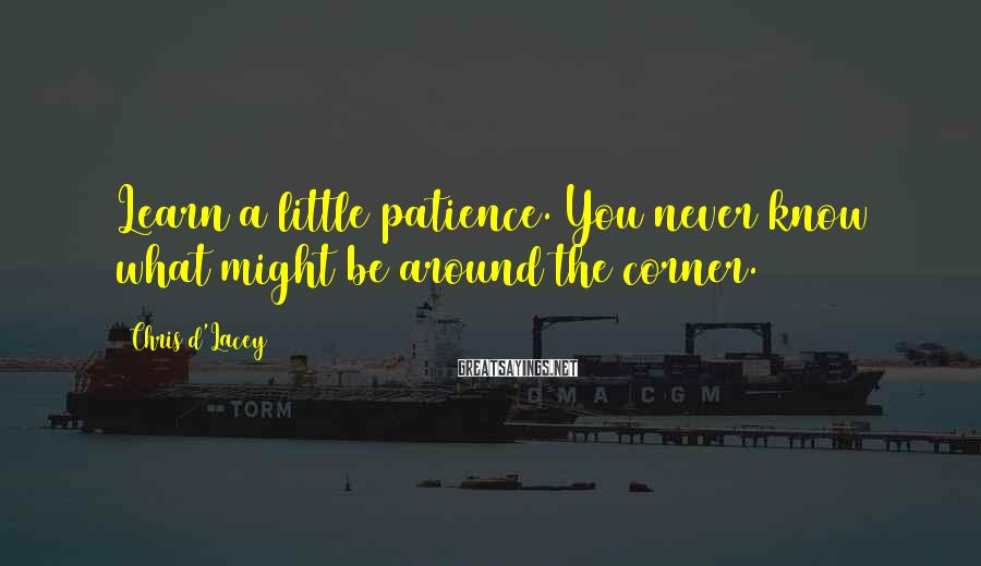 Chris D'Lacey Sayings: Learn a little patience. You never know what might be around the corner.