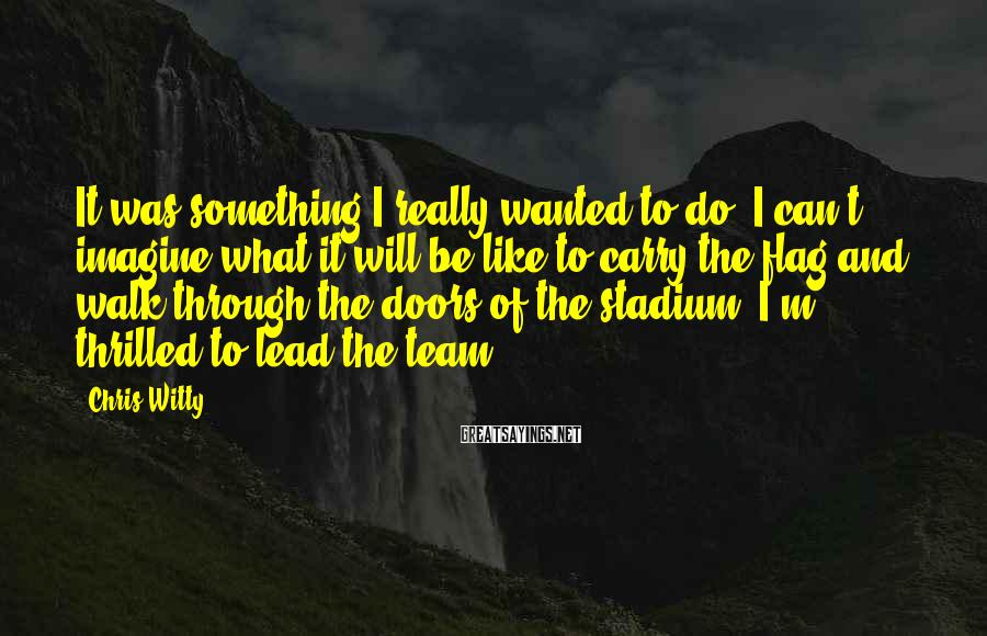 Chris Witty Sayings: It was something I really wanted to do. I can't imagine what it will be