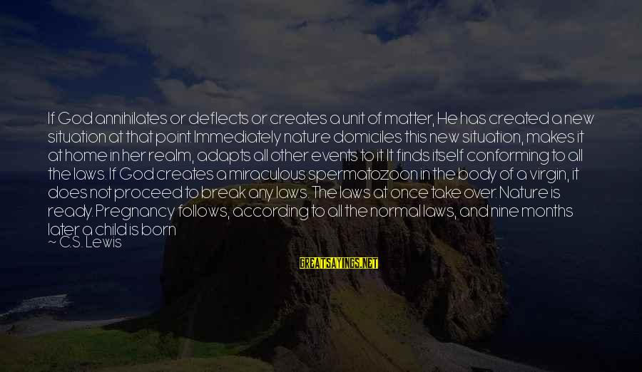 Christmas At Home Sayings By C.S. Lewis: If God annihilates or deflects or creates a unit of matter, He has created a