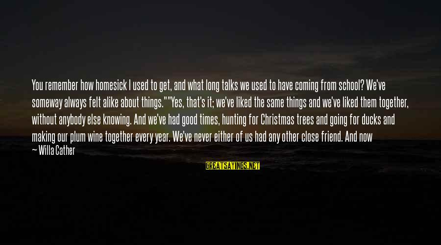 Christmas Is Coming Sayings By Willa Cather: You remember how homesick I used to get, and what long talks we used to