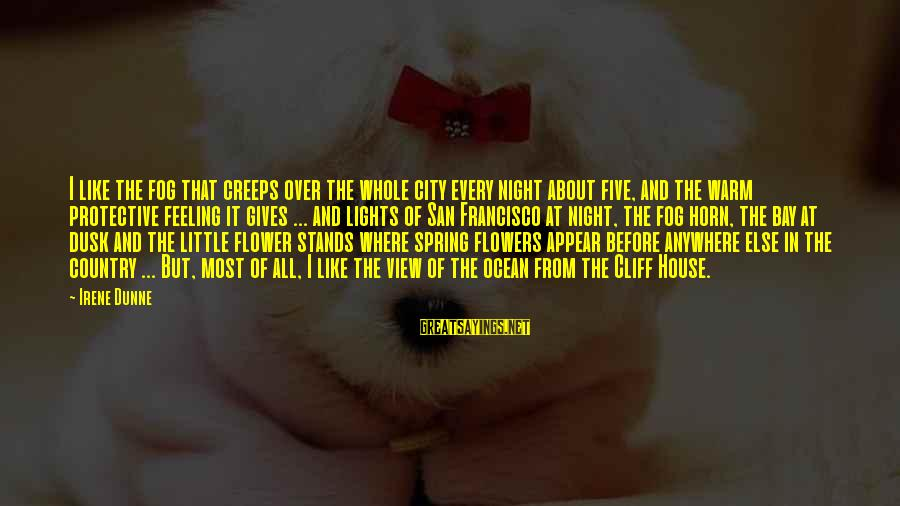 City Lights At Night Sayings By Irene Dunne: I like the fog that creeps over the whole city every night about five, and