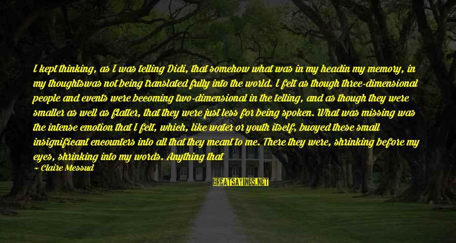 Claire Messud Sayings By Claire Messud: I kept thinking, as I was telling Didi, that somehow what was in my headin
