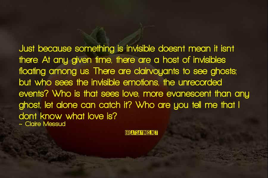 Claire Messud Sayings By Claire Messud: Just because something is invisible doesn't mean it isn't there. At any given time, there