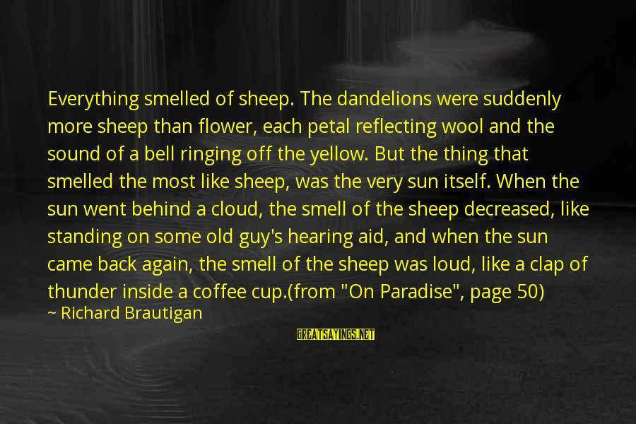 Clap Back Sayings By Richard Brautigan: Everything smelled of sheep. The dandelions were suddenly more sheep than flower, each petal reflecting