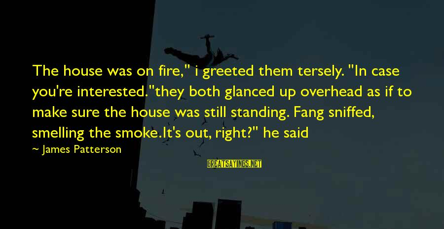 """Cleated Sayings By James Patterson: The house was on fire,"""" i greeted them tersely. """"In case you're interested.""""they both glanced"""