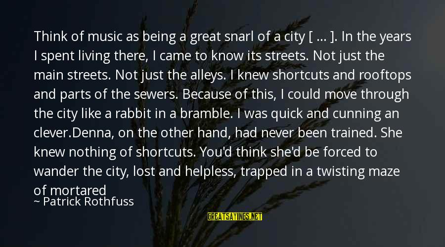 Clever Music Sayings By Patrick Rothfuss: Think of music as being a great snarl of a city [ ... ]. In