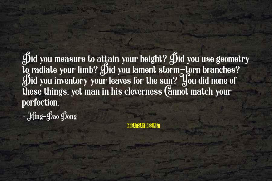Cleverness Sayings By Ming-Dao Deng: Did you measure to attain your height? Did you use geometry to radiate your limb?