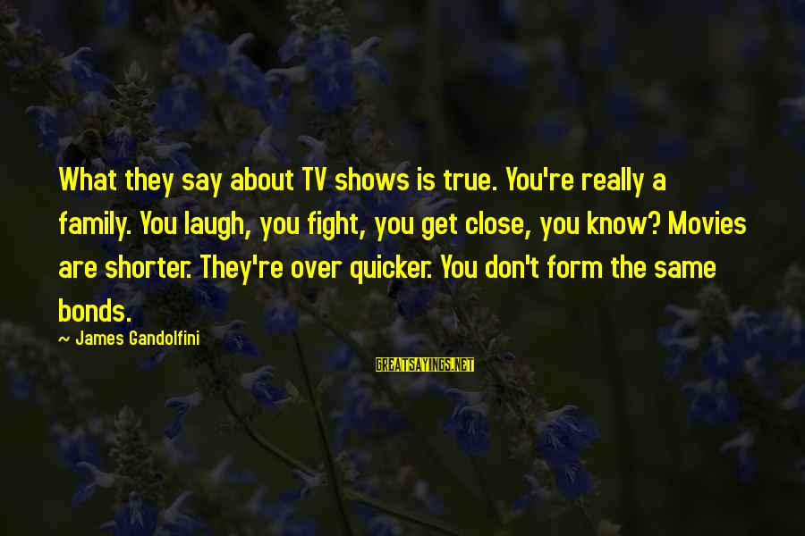 Close Family Sayings By James Gandolfini: What they say about TV shows is true. You're really a family. You laugh, you