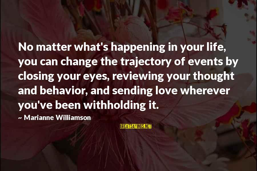 Closing Eyes Sayings By Marianne Williamson: No matter what's happening in your life, you can change the trajectory of events by