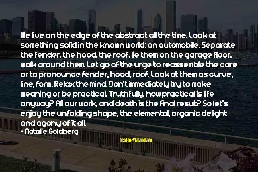 Cod 2 Death Sayings By Natalie Goldberg: We live on the edge of the abstract all the time. Look at something solid