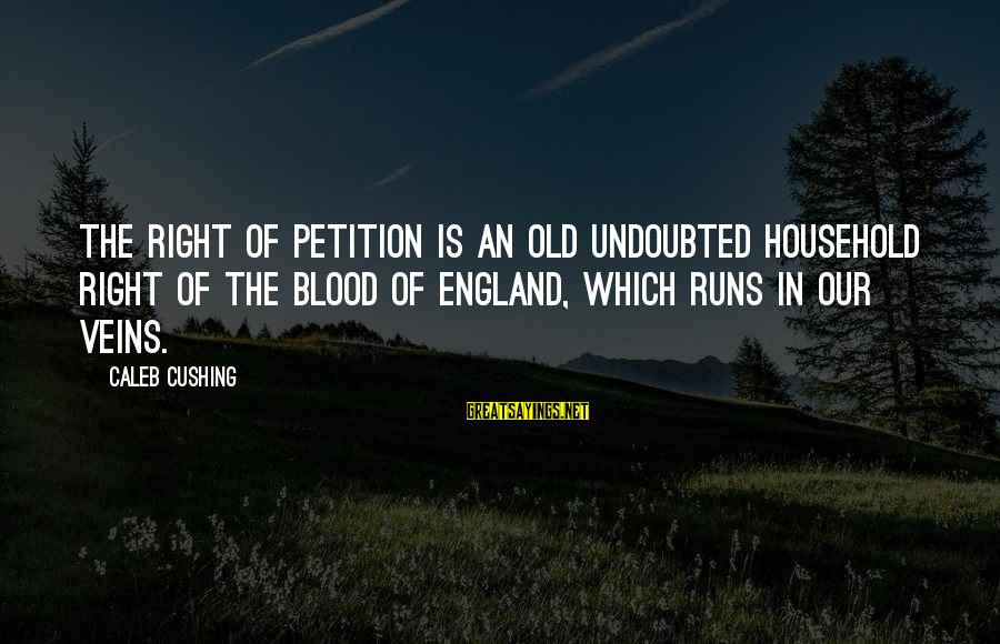 Cold Morning Love Sayings By Caleb Cushing: The right of petition is an old undoubted household right of the blood of England,