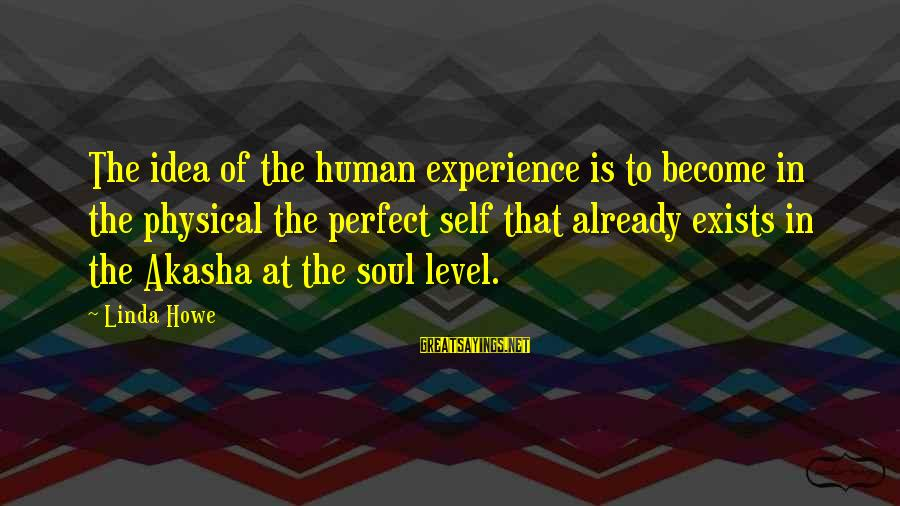 Cold Morning Love Sayings By Linda Howe: The idea of the human experience is to become in the physical the perfect self