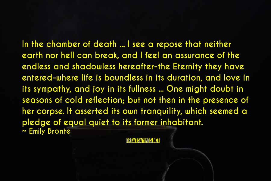 Cold Seasons Sayings By Emily Bronte: In the chamber of death ... I see a repose that neither earth nor hell