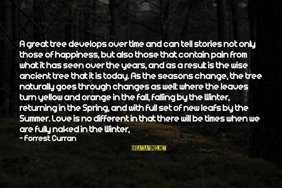 Cold Seasons Sayings By Forrest Curran: A great tree develops over time and can tell stories not only those of happiness,