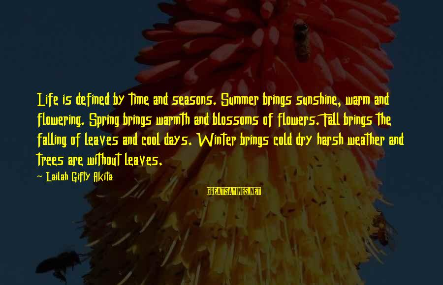 Cold Seasons Sayings By Lailah Gifty Akita: Life is defined by time and seasons. Summer brings sunshine, warm and flowering. Spring brings