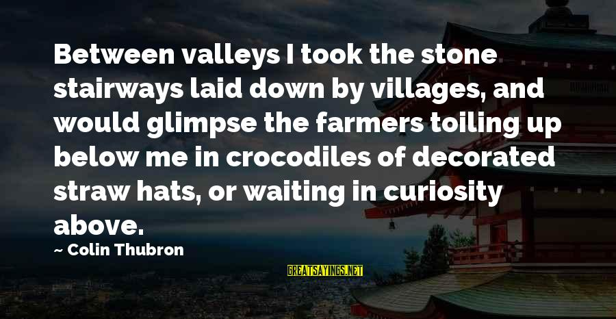 Colin Thubron Sayings By Colin Thubron: Between valleys I took the stone stairways laid down by villages, and would glimpse the