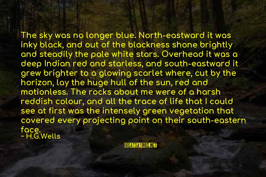 Colour Blue Sayings By H.G.Wells: The sky was no longer blue. North-eastward it was inky black, and out of the