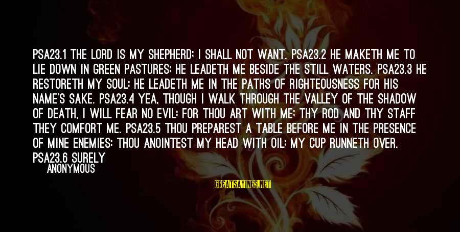 Comfort And Death Sayings By Anonymous: PSA23.1 The LORD is my shepherd; I shall not want. PSA23.2 He maketh me to