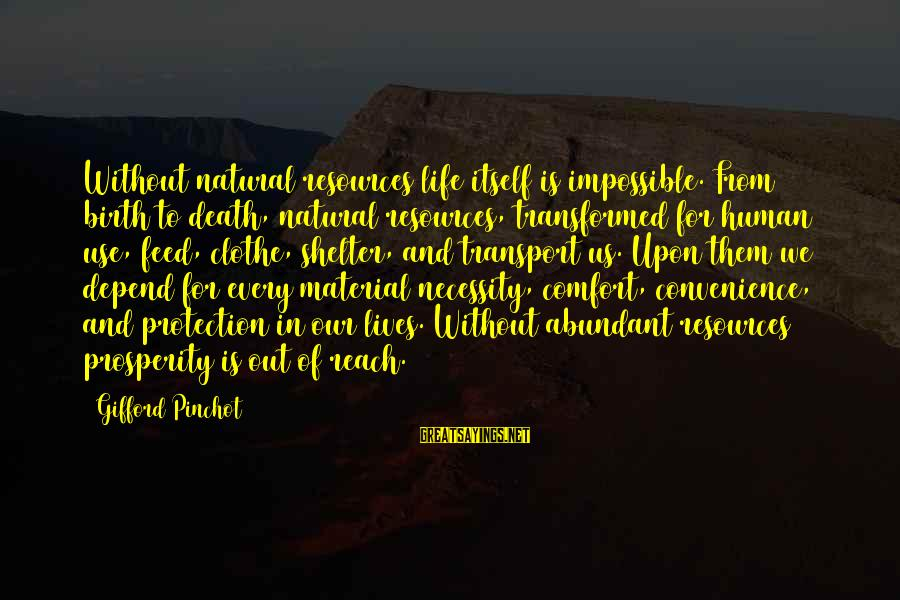 Comfort And Death Sayings By Gifford Pinchot: Without natural resources life itself is impossible. From birth to death, natural resources, transformed for