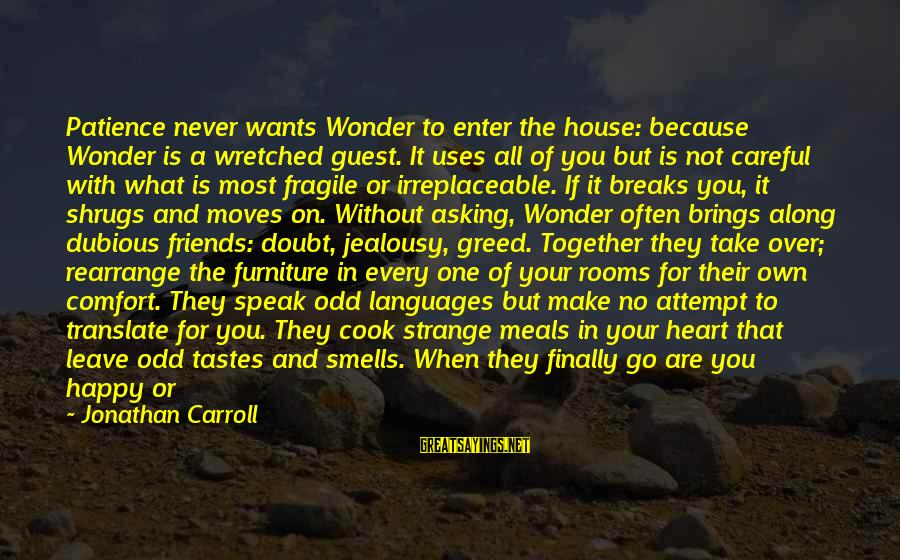 Comfort And Friends Sayings By Jonathan Carroll: Patience never wants Wonder to enter the house: because Wonder is a wretched guest. It