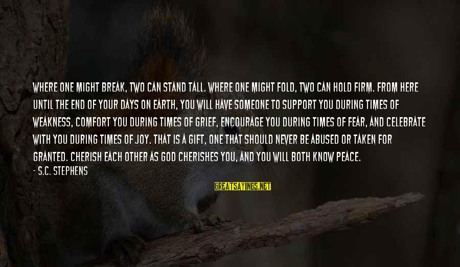 Comfort For Break Up Sayings By S.C. Stephens: Where one might break, two can stand tall. Where one might fold, two can hold